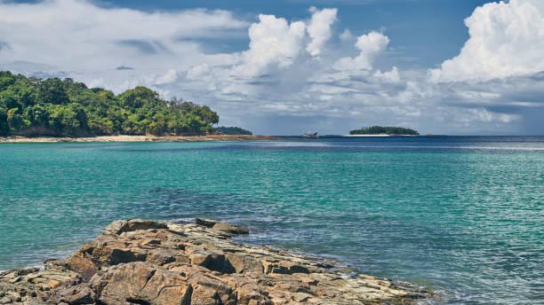 The paradise tropical beach Playa Larga on Contadora island stock photo