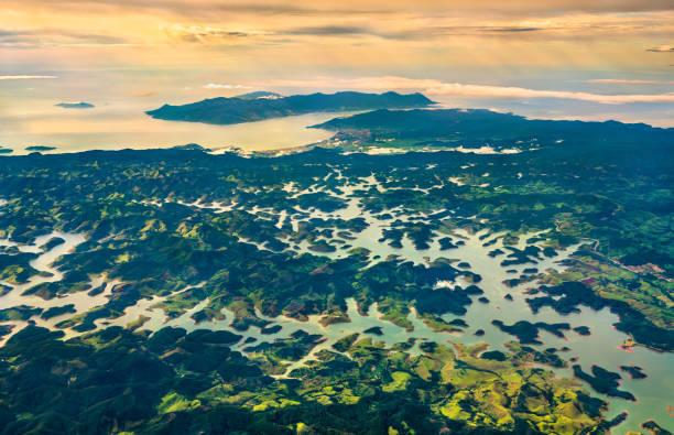 The Paraibuna River within the Serra do Mar mountains in Brazil stock photo