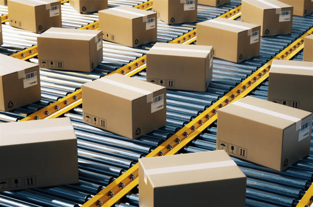 the parcel is on the conveyor belt,concept of automatic logistics management.3d rendering. - conveyor belt stock pictures, royalty-free photos & images