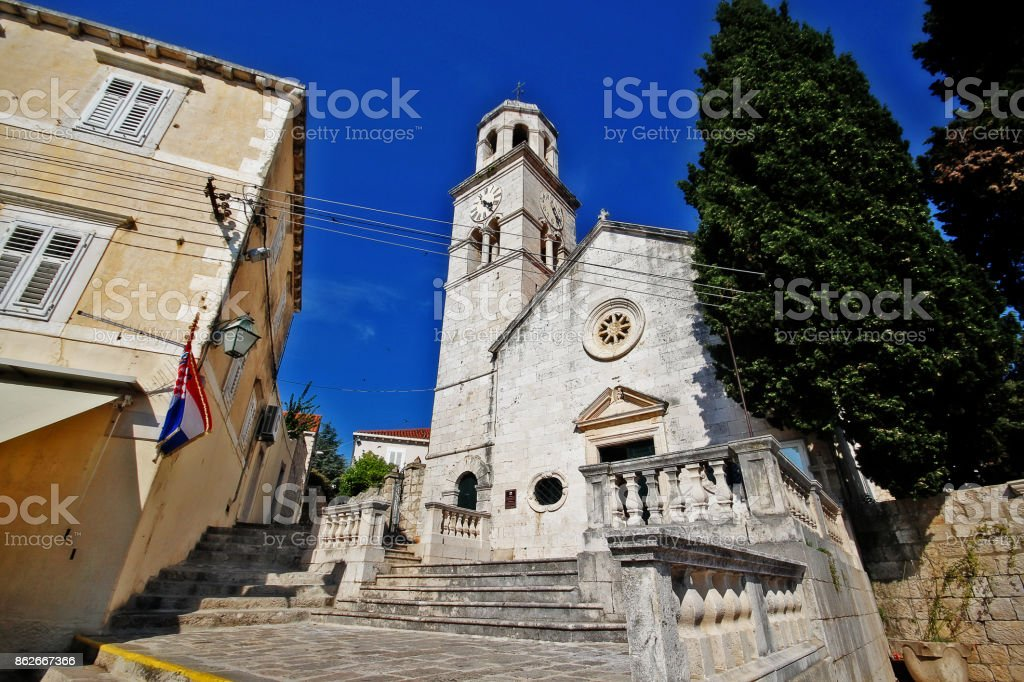 The parish church of St. Nicholas, Cavtat, Dubrovnik-Neretva County, Croatia stock photo