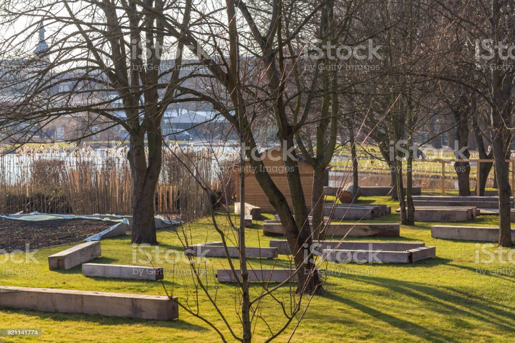 the park from the horticultural show 2018 stock photo