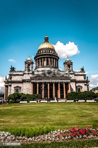 The Park In Front Of St. Isaac's Cathedral In St. Petersburg, Russia