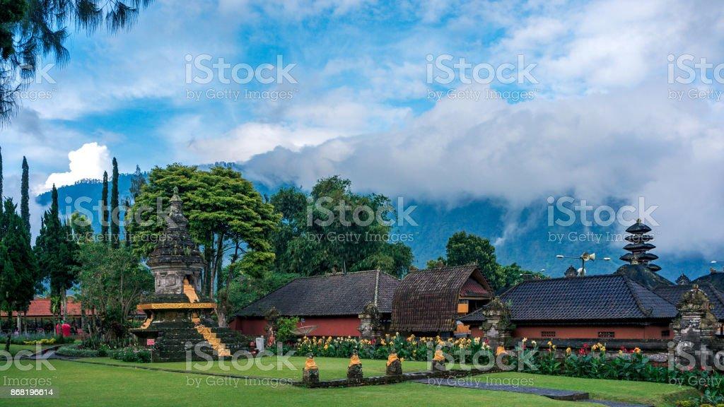 The park of the Pura Ulun Danu temple stock photo