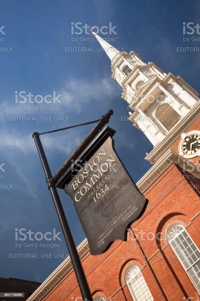 The Park Street Church on Boston Common stock photo