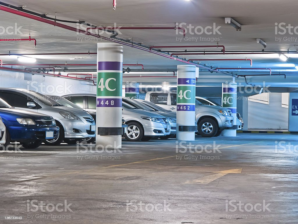 The parking lot in underground royalty-free stock photo