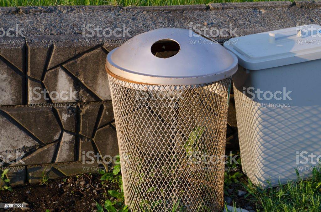 The park's trash bin stock photo