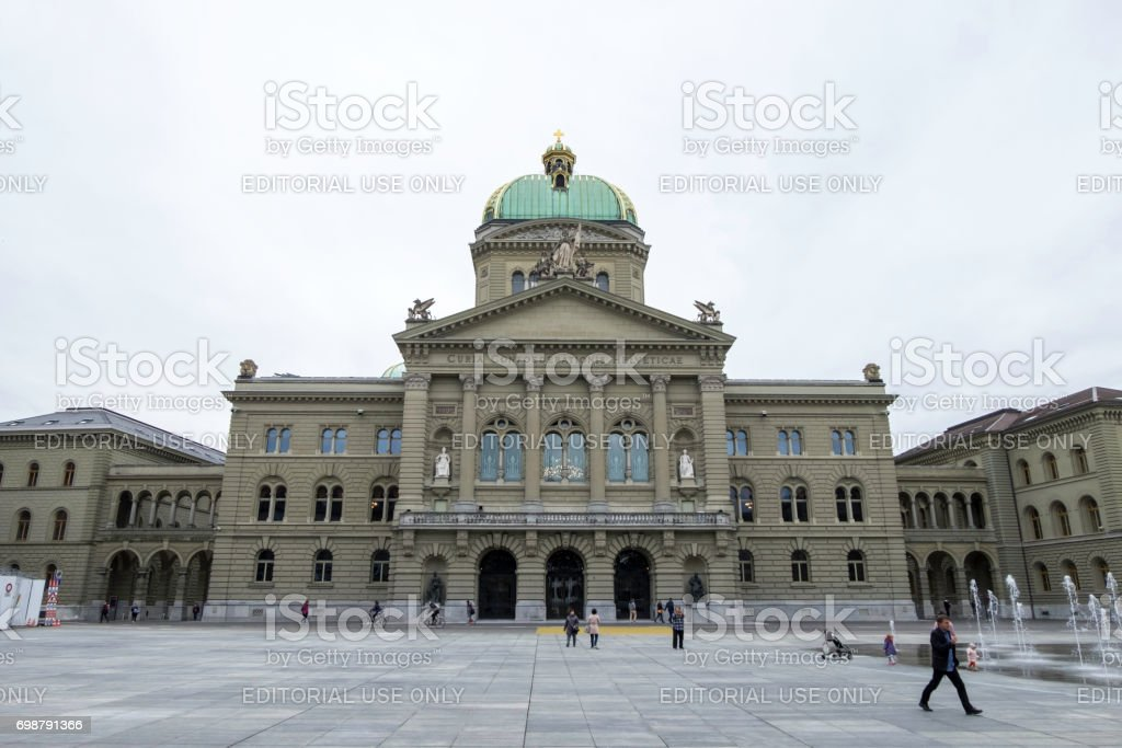 The parliament building, assembly building with a domed hall, before Bundesplatz or Government plaza. stock photo