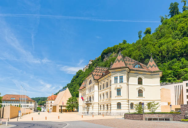 The Parliament building with Vaduz Castle stock photo