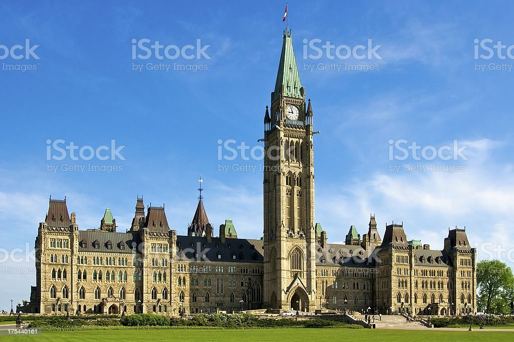 The Parliament Buildings of Canada in Spring stock photo