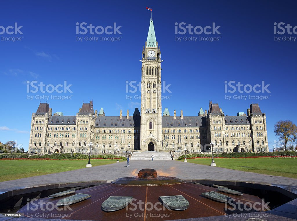 The Parliament of Canada and heroes flame stock photo