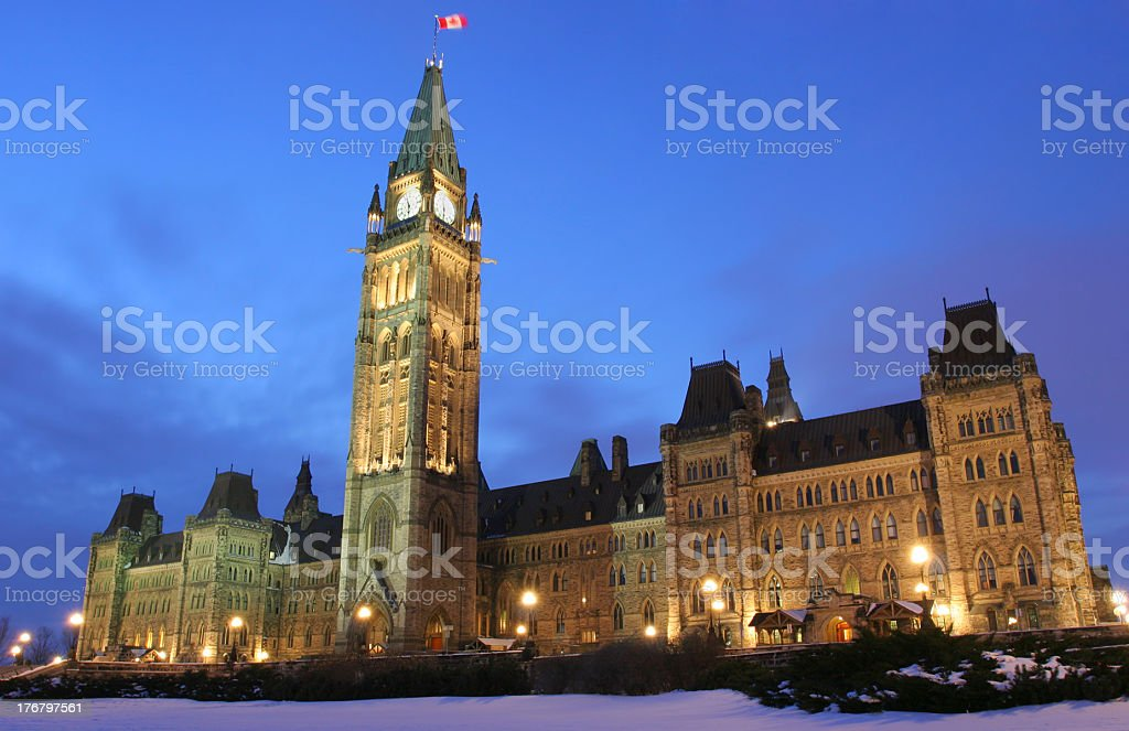 The Parliament of Canada at night stock photo