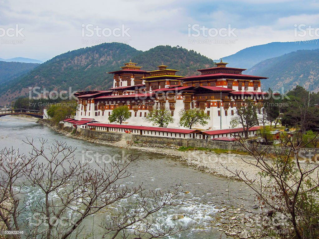 The paro fort or dzong in Bhutan stock photo