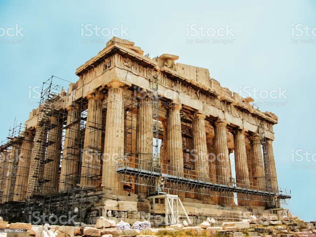 The Parthenon Athens Acropolis Greece Famous Ancient Greek Temple Scaffolding During Its Restoration