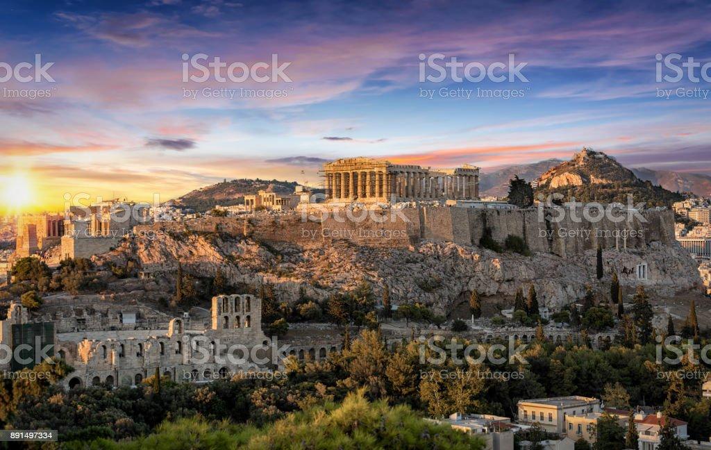 The Parthenon Temple at the Acropolis of Athens, Greece stock photo