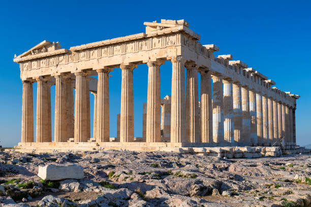 The Parthenon temple in Acropolis hill, Athens stock photo