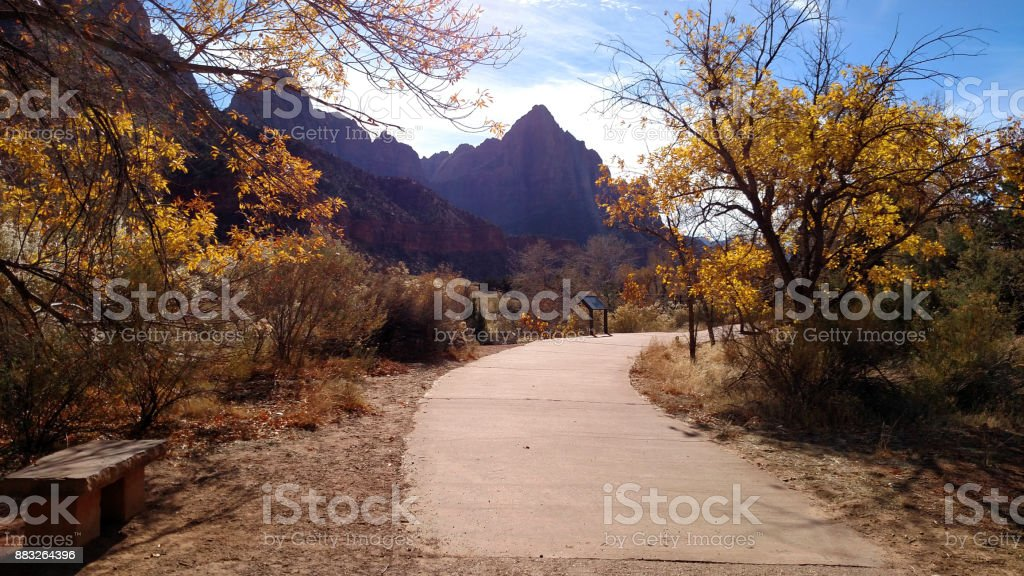 The Pa'rus Trail in Zion National Park and The Watchman Peak in background Springdale Utah stock photo