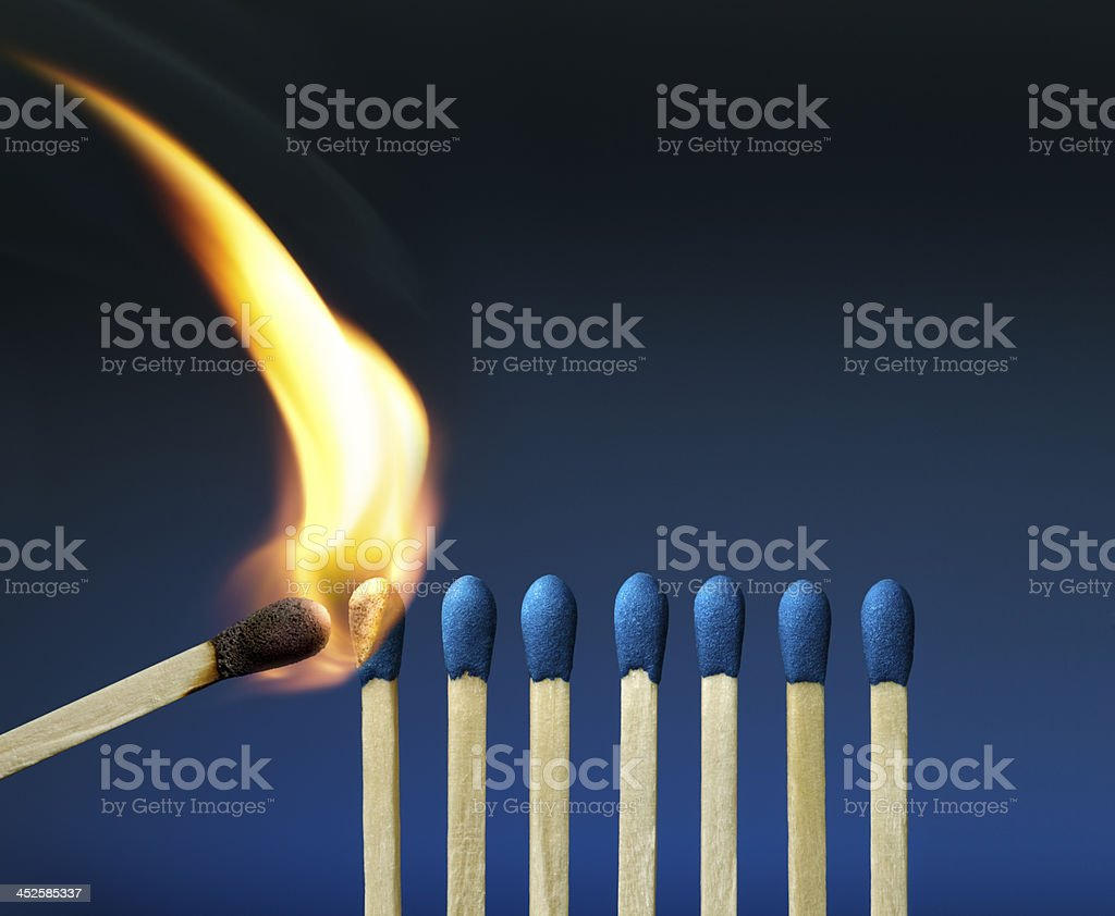 The Passion of One Ignites New Ideas, Emotions, Change stock photo