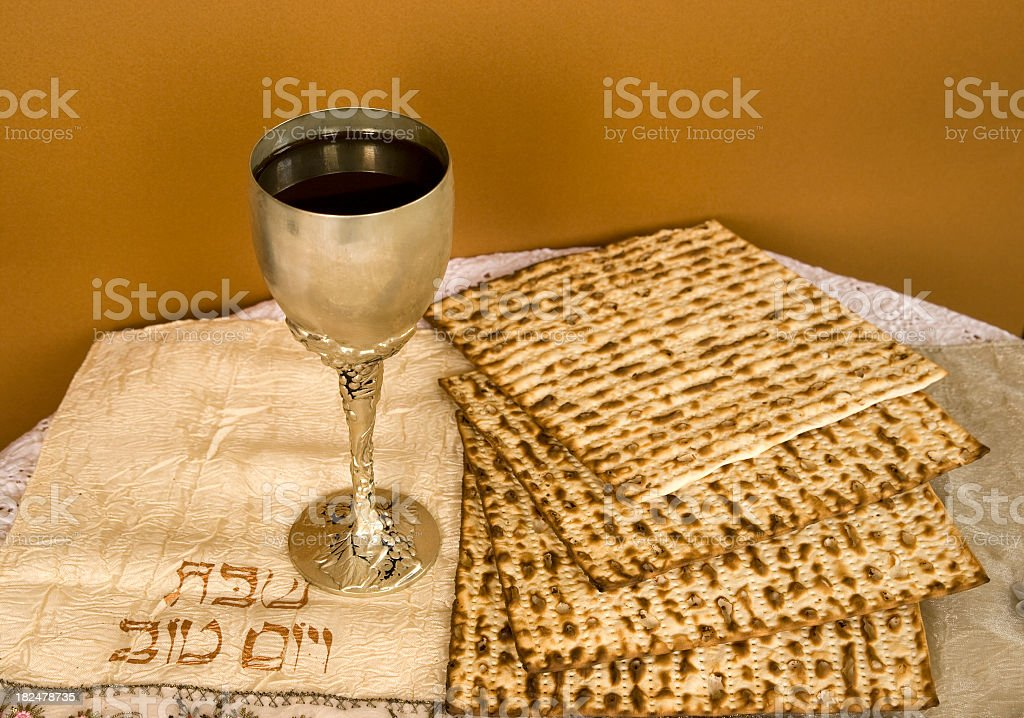 The Passover meal consisting of wine and matzo stock photo