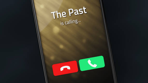 The Past is Calling Incoming call from The Past on a smartphone former stock pictures, royalty-free photos & images