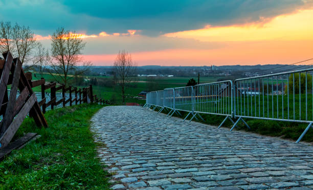 The Paterberg - Road of Tour of Flanders stock photo