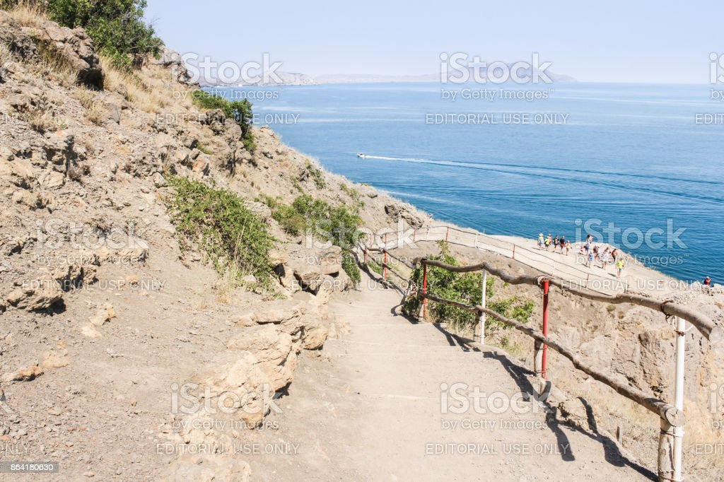 The path goes down to the sea. royalty-free stock photo