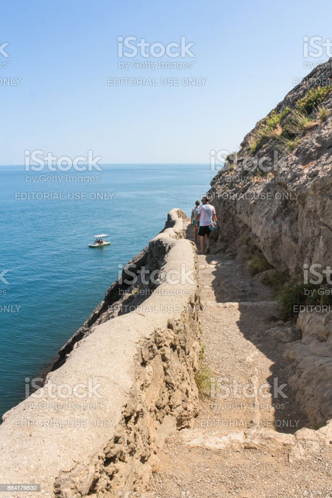 The path is high above the sea. royalty-free stock photo