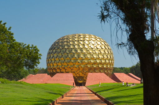 The Path Leading To Entrance Of Matrimandir In Auroville India Stock Photo - Download Image Now