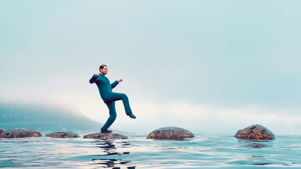 The path to success for a businessman who overcomes problems stock photo