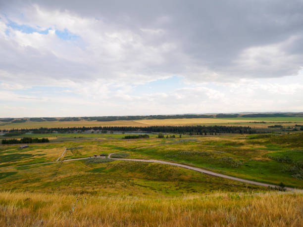The pathways and beautiful land of Glenbow Ranch in Alberta stock photo