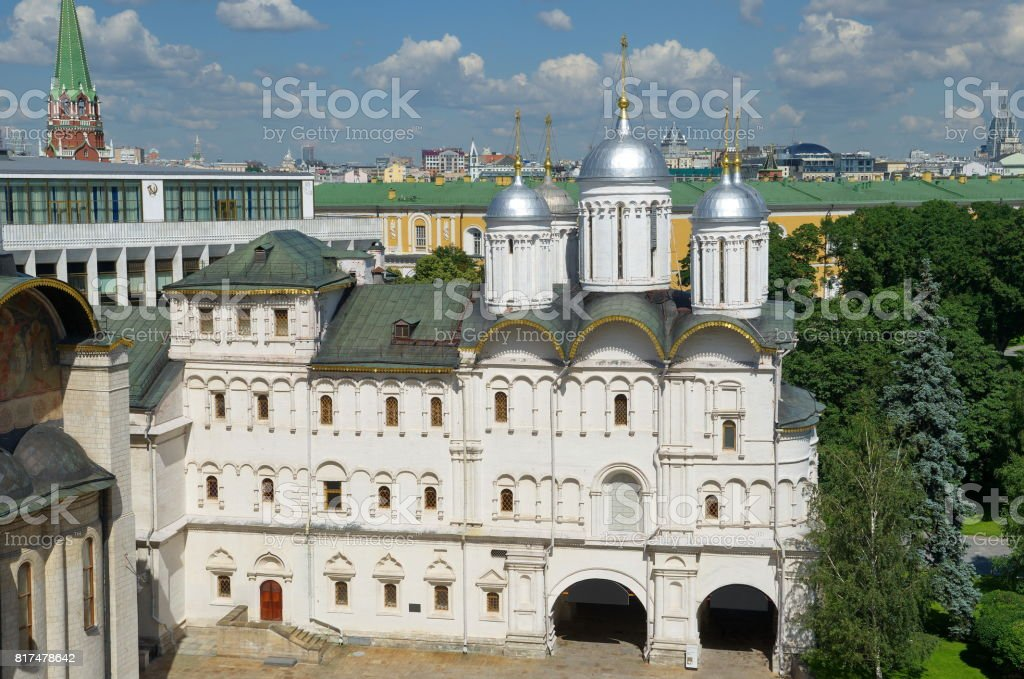 The Patriarch's Palace with Church of Twelve Apostlesin the Moscow Kremlin, Russia stock photo