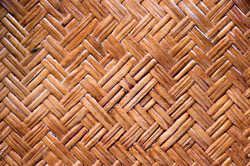 The pattern of brown bamboo handcraft lines that weave together ,Texture of my old basket,art and crafts,wooden background