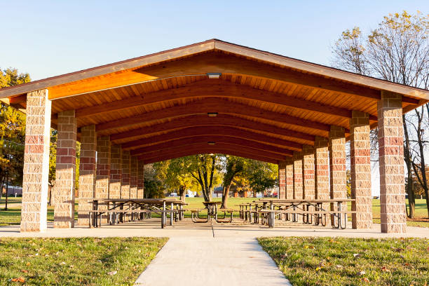 the pavilion is ready for a day of picnics the pavilion is ready for a day of picnics pavilion stock pictures, royalty-free photos & images