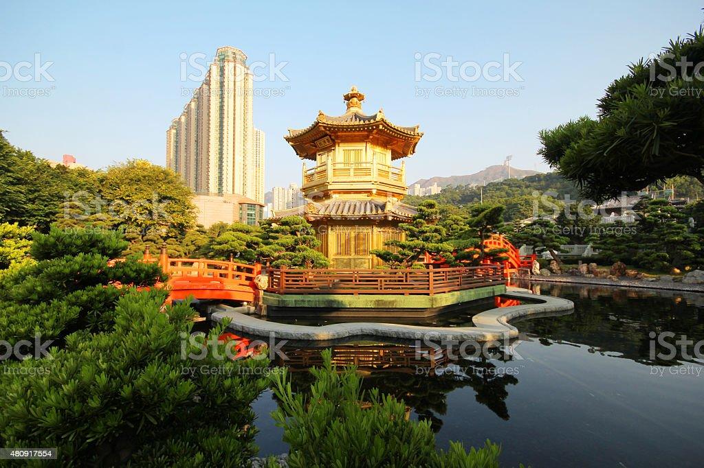 The Pavilion, Nan Lian Garden, Hong Kong stock photo