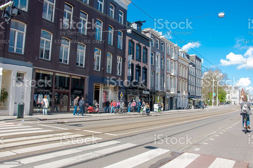 The P.C.Hooftstraat fashion street with the row of shops. stock photo