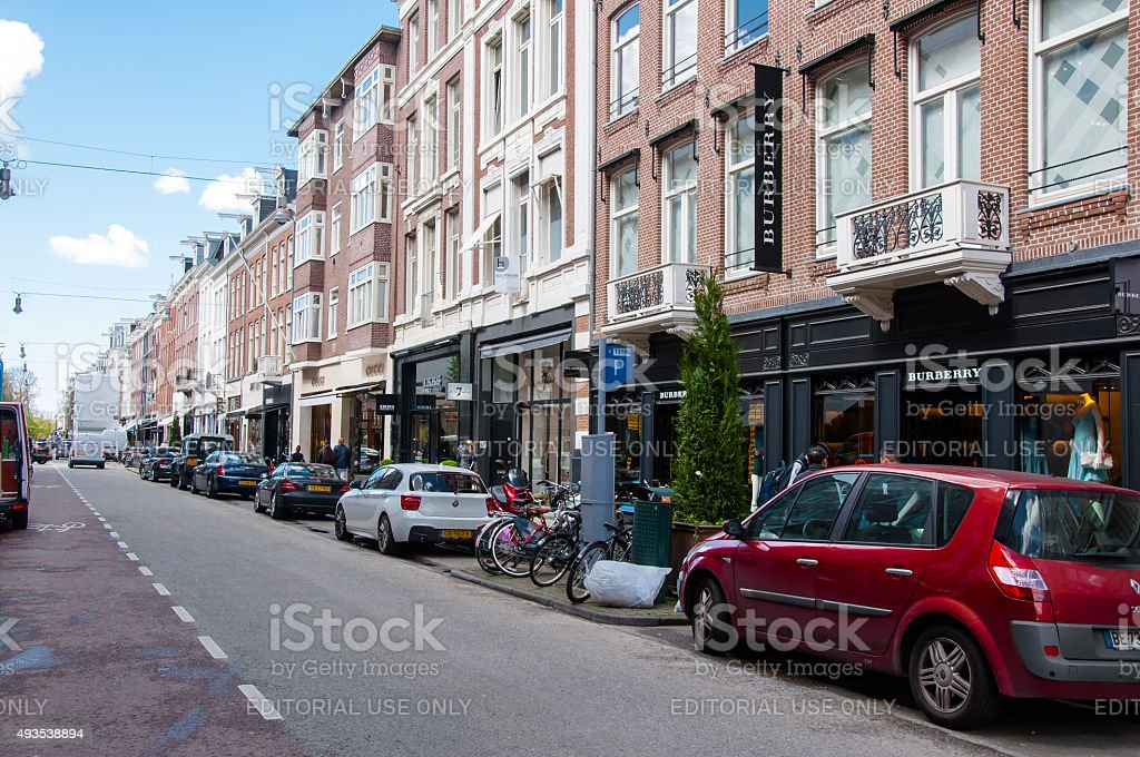 The P.C.Hooftstraat fashion street with world's biggest brands, luxury clothes. stock photo