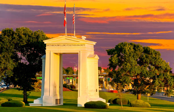 Peace Arch at Sunset stock photo