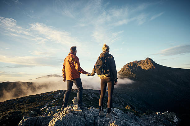 the peak is within sight - cradle mountain stock photos and pictures