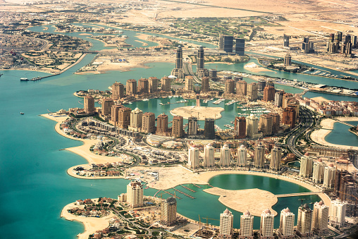 The Pearl Of Doha In Qatar Aerial View Stock Photo - Download Image Now