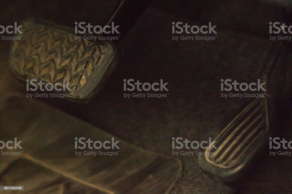 The pedal to the brake and accelerator. stock photo