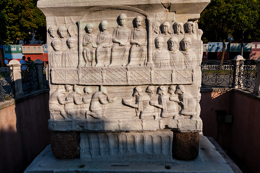 The Ancient Egyptian obelisk of Pharaoh Thutmose III re-erected in the Hippodrome of Constantinople by the Roman emperor Theodosius I in the 4th century AD