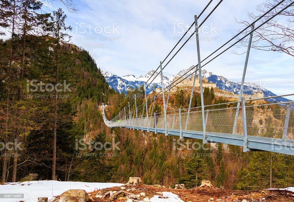 The pedestrian suspension bridge called Highline 179 in Reutte, Austria stock photo