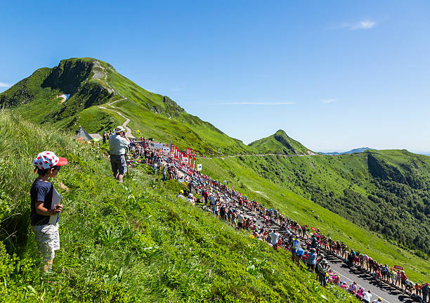 The Peloton in Mountains - Tour de France 2016 stock photo