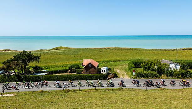 The Peloton in Normandy - Tour de France 2015 stock photo