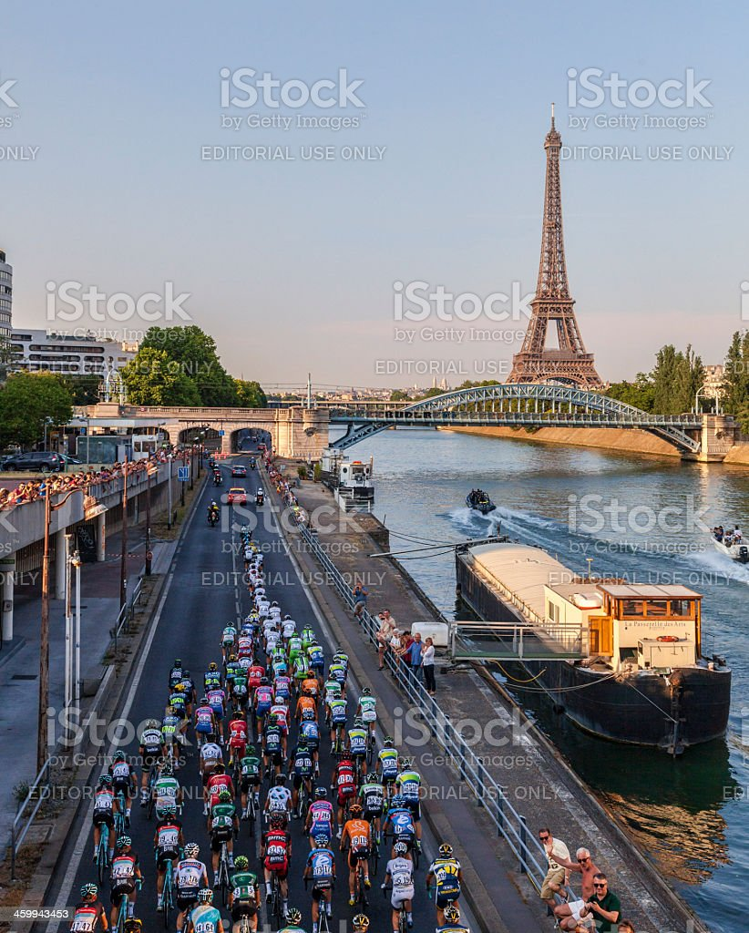 The Peloton in Paris stock photo