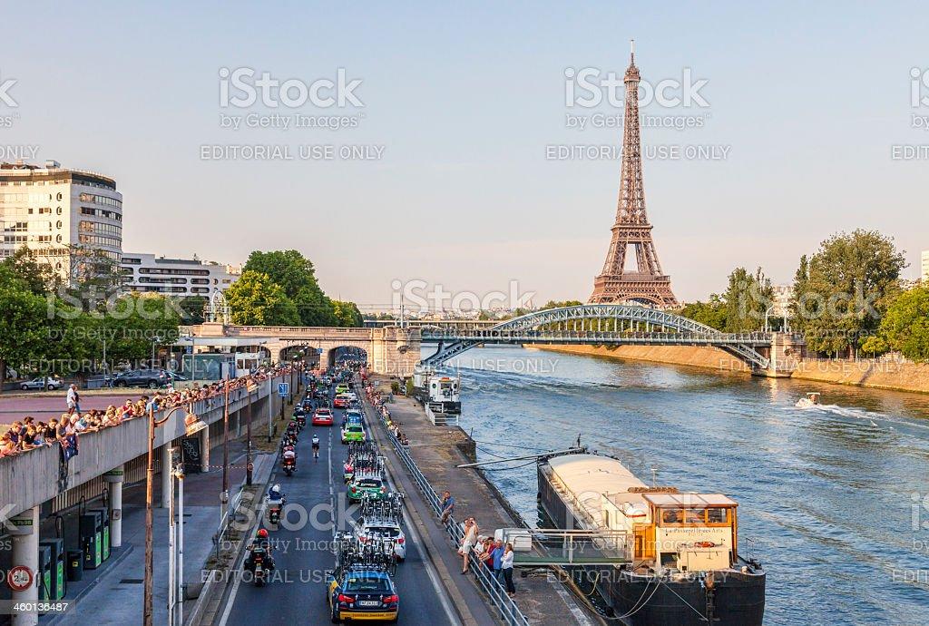 The Peloton in Paris stock photo
