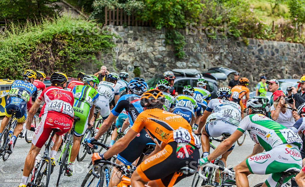 The Peloton on Alpe D'Huez stock photo