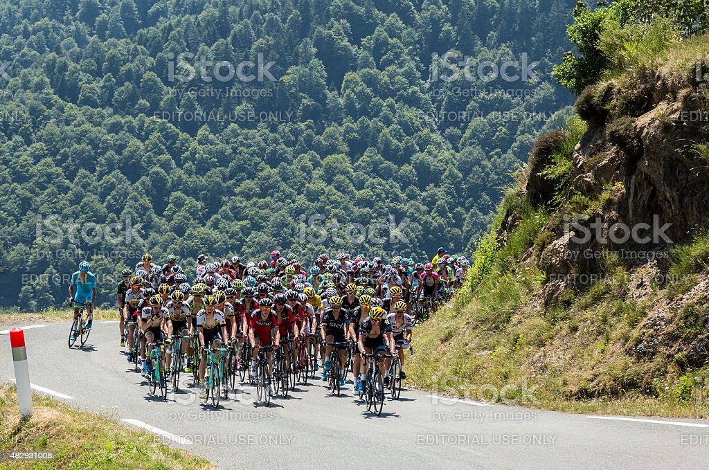 The Peloton on Col d'Aspin - Tour de France 2015 stock photo