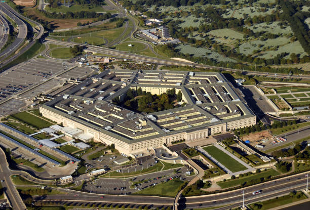 The Pentagon aerial view stock photo