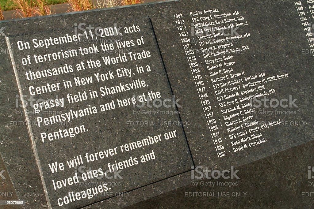 The Pentagon Memorial stock photo