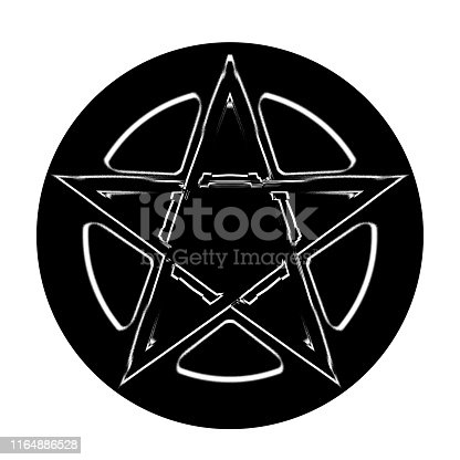 The Pentagram symbol, composed of five, straight lines to form a star. 3D illustration